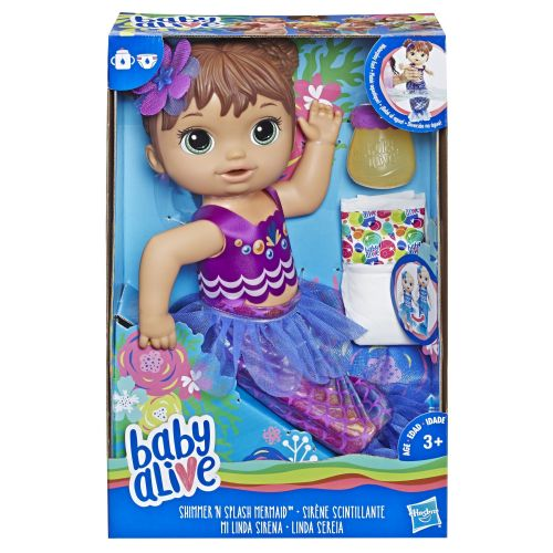 Baby Alive Shimmer N Splash Mermaid Brown Hair